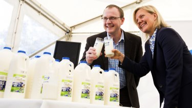 Woolworths executive Ewan Shearer and Fonterra Australia managing director Judith Swales at Fonterra's Cobden beverages plant in Victoria.