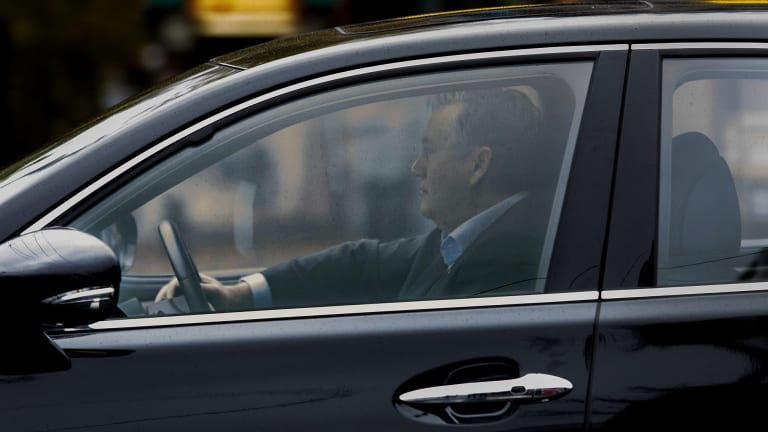 Eddie McGuire is seen leaving the Triple M studios after finishing his morning radio show on Monday.