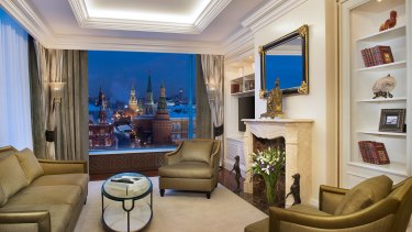 A hotel room in the Ritz-Carlton in Moscow.