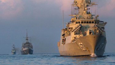 Australia's HMAS Perth, Singapore's RSS Stalwart and Malaysia's KD Kasturi in a joint exercise in 2015.