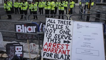 Placards outside the venue of the Chilcot Inquiry in January 2010.