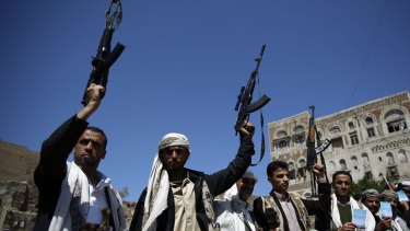 Shiite fighters known as Houthis in the Yemeni capital Sanaa. A Saudi commander has suggested the rebels might have been behind the attack on the hospital.