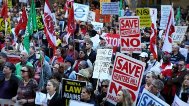 Protestors gather in Sydney's CBD to oppose the draconian laws and polices of NSW Premier Mike Baird and his government.