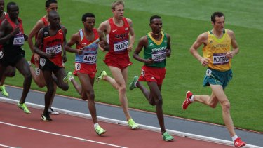 Craig Mottram contests a heat of the 5000m event at the London Olympics in 2012.