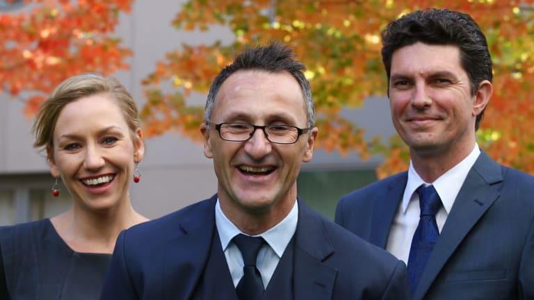 Greens leader Senator Richard Di Natale (centre) has lost his co-deputies Larissa Waters and Scott Ludlam following a citizenship fiasco.