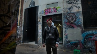 Meyer Eidelson raised the alarm on the destruction of three Banksy stencils in AC/DC Lane.