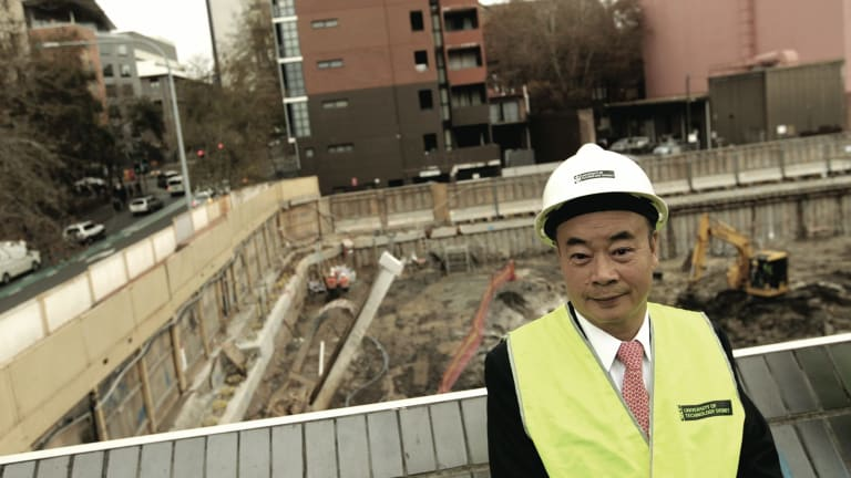 Chau Chak Wing at the building site for the UTS business school.