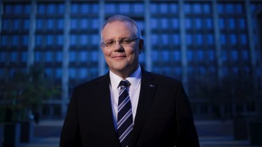 Treasurer Scott Morrison at the Treasury building in Canberra.