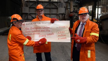 Boris Johnson and fellow MPs Gisela Stuart and Douglas Carswell throw a cheque into a furnace during an anti-EU photo stop in  Staffordshire, England, this week.