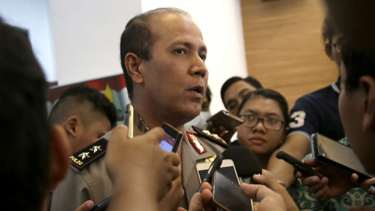 Indonesian police spokesman Major-General Boy Rafli Amar addresses the media in Jakarta in July, after wanted Islamist militant Santoso was shot dead in Sulawesi.