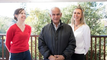 Dementia expert Kylie Radford with Claude Timbery and his daughter, Alison.