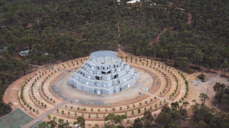 Karma country: Buddhist monument the Great Stupa of Universal Compassion, near Bendigo in Victoria, under construction earlier this year.