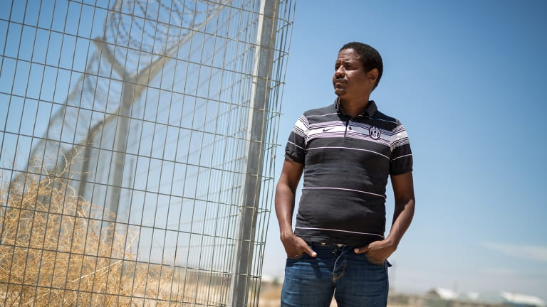 Near Holot detention centre, where African illegal migrants are being pushed to leave Israel.