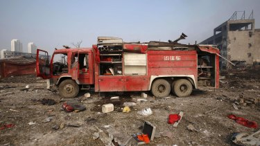 An abandoned fire truck at the blast site in Tianjin.