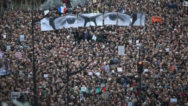 January 11, 2015: Demonstrators make their way along Boulevard Voltaire in a unity rally in Paris following the Charlie Hebdo attacks.