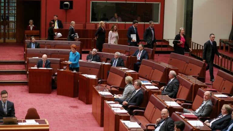 Greens senators walk out as Senator Hanson delivers her first speech in the Senate.