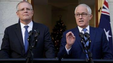 Change the track: Treasurer Scott Morrison and Prime Minister Malcolm Turnbull.