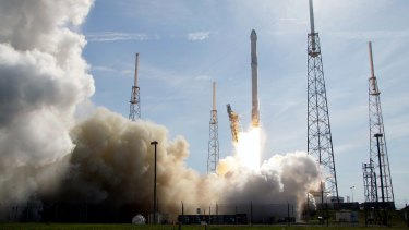 The SpaceX Falcon 9 rocket lifts off at the Kennedy Space Centre in Cape Canaveral, Florida en route to the International Space Station in April.