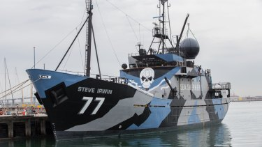 The Steve Irwin, which departed Williamstown on Monday.