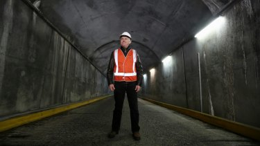 Prime Minister Malcolm Turnbull in a tunnel near the Tumut 2 power station.