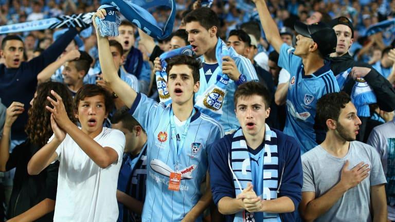 Happy people: Sydney FC fans on Saturday night.