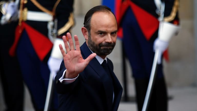 Newly appointed French Prime Minister Edouard Philippe at the handover ceremony in Paris.