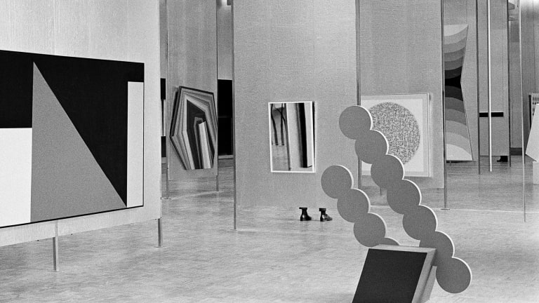 Installation view of The Field, National Gallery of Victoria, 1968.