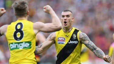 A win for the ages: Jack Riewoldt (left) and Dustin Martin after Riewoldt kicked a goal.
