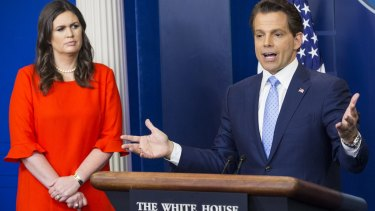Anthony Scaramucci, director of communications for the White House, right, speaks as Sarah Huckabee Sanders, new White House press secretary listens on Friday.