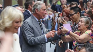 Prince Charles meets crowds in Martin Place, Sydney, on Thursday.