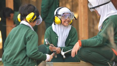 "Safety first: Children from Clayton North Primary School in their ""creative play space""."