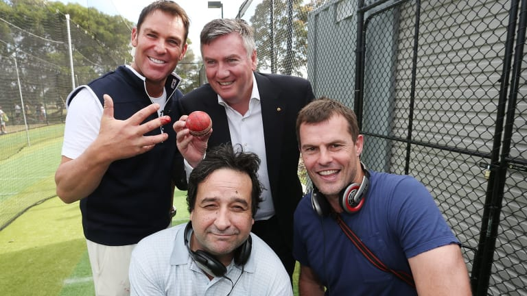 From back left: Shane Warne, Eddie McGuire, Mick Molloy and Luke Darcy at an AFL community camp in December 2014.