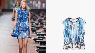 Kenzo or Zara? A blue Zara topped inspired by a print on a Kenzo dress.