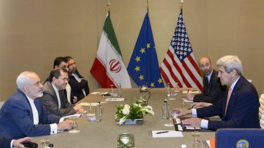 US and Iranian negotiators meet at Geneva's Intercontinental Hotel on Saturday.