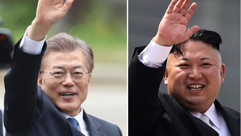 South Korea's new President Moon Jae-in, left, is willing to meet North Korean leader Kim Jong-un, right.