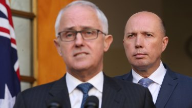 Malcolm Turnbull and Peter Dutton at the announcement of the new mega-department which appears as if it will, effectively, have a monopoly on investigating its own operations. Photo: Andrew Meares