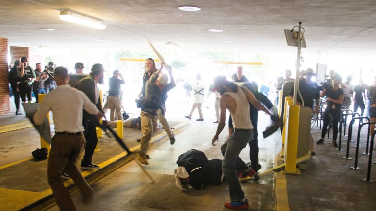 Racial violence in Charlottesville, Virginia, US, in August.