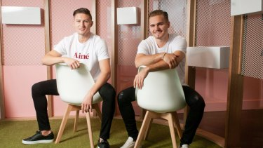 Nik Mirkovic, left, and Alex Tomic credit the glowing results from their teeth-whitening business HiSmile to social media.