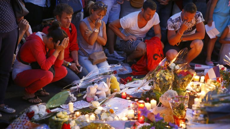 Mourners remember victims of the terror attack in Nice.