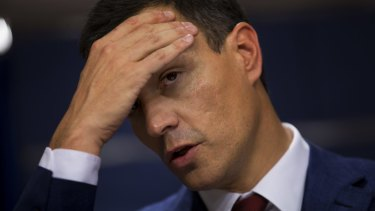 No deal: Spanish Socialist Party leader Pedro Sanchez after his meeting with King Felipe IV, in Madrid on Tuesday.