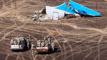 Wreckage at the site of the Russian plane crash on the Sinai Peninsula in late 2015.