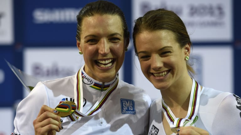 Rebecca Wiasak (left) with third-placed Australian Amy Cure on the podium.