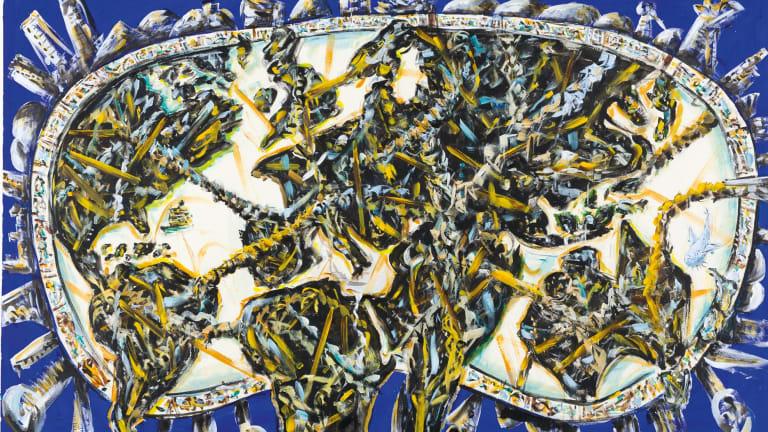 Linkages (2018), acrylic on canvas, 121.5 x 197cm.