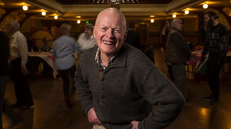 He's got the moves: David Morrison, 87, a regular at the LGBTI Elders Dance Club, which meets once a month at Fitzroy Town Hall
