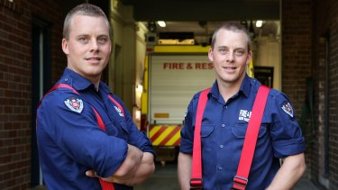 Twins and firemen Hugh and George Lloyd at Ashfield Fire Station.