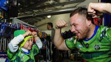 Big kid at heart: Canberra Raiders prop Shannon Boyd.