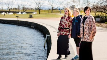 Ann Johnstone (far right) is the sister of George Reekie. Friends and family plan a tribute to him on the shores of Lake Burley Griffin on Sunday. Ann is pictured with her daughter Eleanor, 11, and their friend Jeannie Robertson.