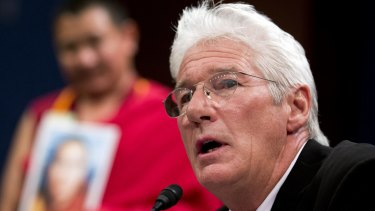 American actor and activist Richard Gere testifies at a hearing on Tibet in Washington on Tuesday.