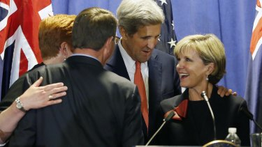 Foreign Minister Julie Bishop with US Secretary of State John Kerry.