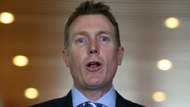 Social Services Minister Christian Porter at Parliament House on Thursday.